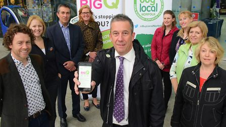 Martin Lake(centre) and business owners at the Forum to urge the region's business to complete a sur