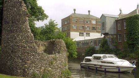 Paper Mills Yard at Carrow Works from the Wensum beside Carrow Bridge, with the remains of the boom
