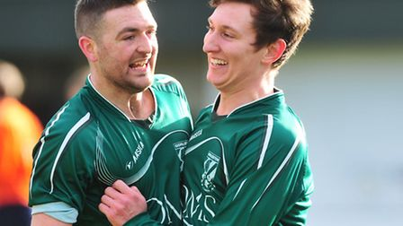 Christy Finch, right, celebrates finding the net during his Gorleston days. Picture: NICK BUTCHER
