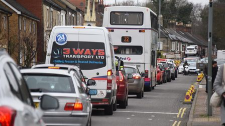 Queuing traffic on the Dereham Road due to the Bowthorpe Road roadworks. Picture: DENISE BRADLEY