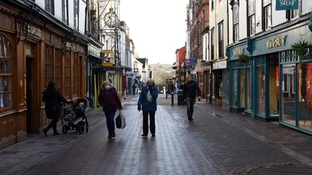 Bury St Edmunds town centre during the third UK lockdown