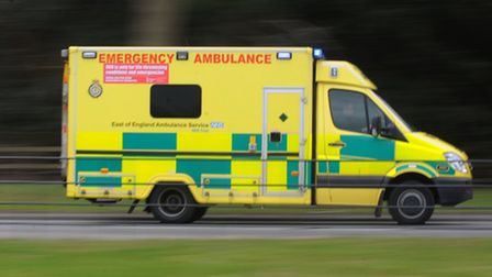 An Ambulance heads down the A11 at Elveden to an emergency. Photograph Simon Parker