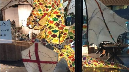 St George and the Dragon display at Kahaila cafe during Aldgate winter festival.