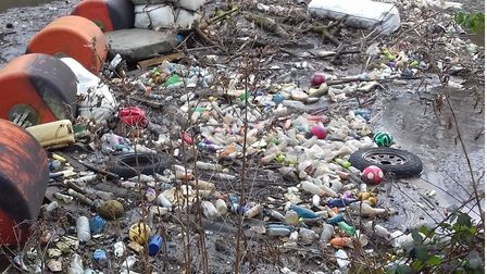 Rubbish that gets caught up in rivers and canals of east London that could end up out at sea.