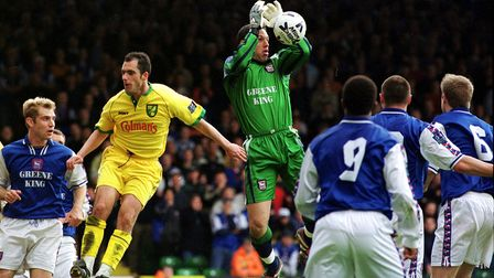 Norwich City and Ipswich Town in action in 1999 when both clubs were sponsored by local companies
