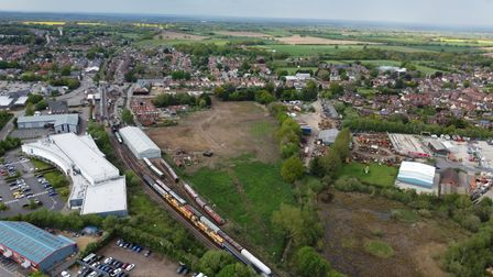 Aerial photo of the old maltings site in Dereham, taken from the south and facing northwards.