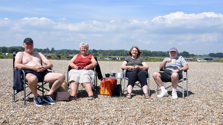 John and Janice Castleton with Maureen and Richard Holmes. Aldeburgh hot weather Picture: CHARLOTTE