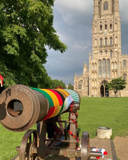 Ely Cathedral cannon yarn-bombing