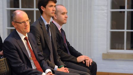 Schools minister, Nick Gibb, left, during an assembly at the Jane Austen College before the official