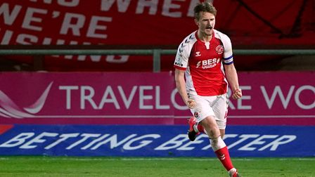 Fleetwood Town's Callum Connolly celebrates after scoring his side's first goal of the game during t