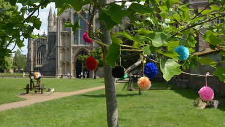 Yarn-bombing outside Ely Cathedral