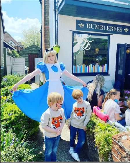 Alice in Wonderland was at the opening ofRumblebees in Felsted