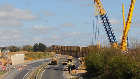 Work taking place on the new bridge across the A47 at the Postwick hub junction. Picture: DENISE BRA