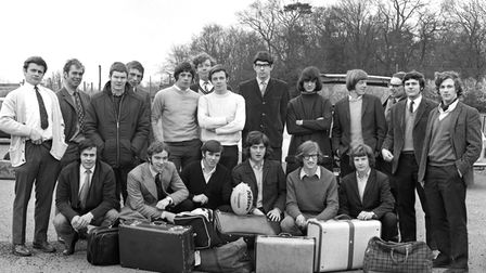 The Suffolk Colts team as they left Bury St Edmunds for a tour in April 1971.