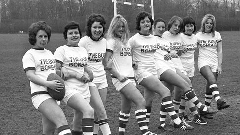 The Bury Bombers ladies rugby team of February 1976.