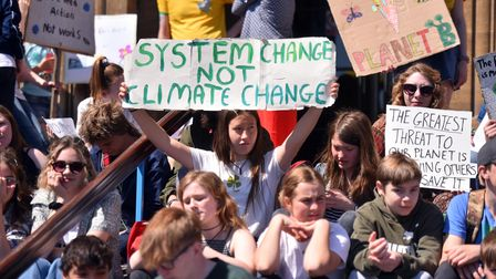 Action from the third Youth Strike 4 Climate protest outside City Hall, Norwich.
