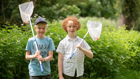 Sidney and Miles enjoyed a morning fishing for shrimps in Clare Castle Country Park. Picture: Sarah