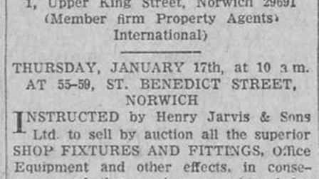 Clipping advertising the sale of fixtures and fittings from the Henry Jarvis store.