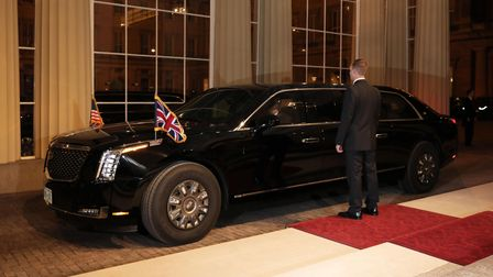 """The U.S. President Donald Trump's Cadillac limousine, also known as """"The Beast"""" arrives with U.S. Pr"""