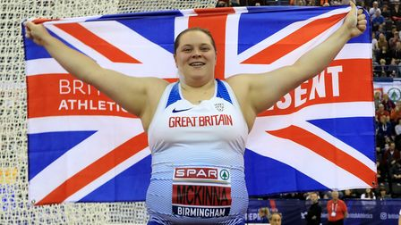 Sophie McKinna celebrates winning the women's Shot Put during day two of the SPAR British Athletic I
