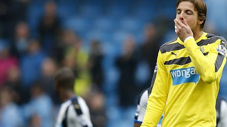 Newcastle United goalkeeper Tim Krul looks dejected during his sides heavy defeat to Manchester City