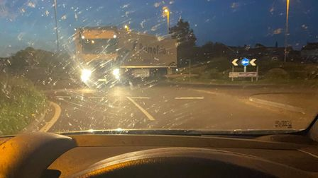 Lorry driving wrong way around roundabout