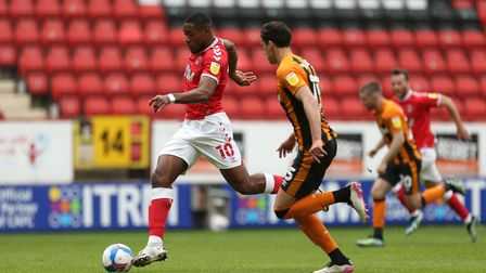 Charlton Athletic's Chuks Aneke (left) in action during the Sky Bet League One match at The Valley,