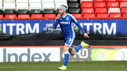 Gillingham's Connor Ogilvie celebrates scoring their second goal during the Sky Bet League One match