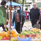 Shoppers around Norwich Market shopping local and staying safe in masks.Picture by: Sonya Duncan