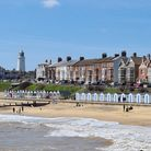 A view of Southwold beach and its lighthouse