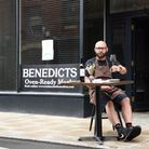 Chef Richard Bainbridge at a table outside his restaurant Benedicts in St Benedicts, where the counc