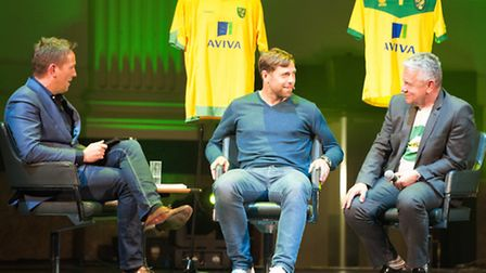 Grant Holt (centre) chats to Simon Thomas and writer Mick Dennis (right), on the launch of Tales Fro