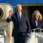 US President Joe Biden and First Lady Jill Biden arrive on Air Force One at RAF Mildenhall in Suffol