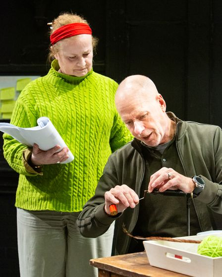 Philip Gill as Arthur Ransome and Sally Ann Burnett as Evgenia Ransome in rehearsal for Eastern Angles new play Red Skies