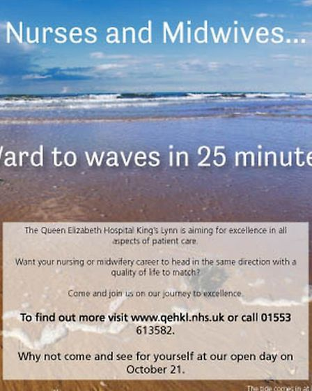 The hospital wants to recruit nurses with this poster. Picture: Supplied