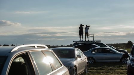 Hundreds of aviation enthusiasts gathered at a plane spotting site in Mildenhall to watch President