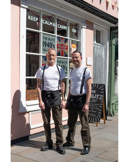 Adam Gray and Clive Driver have openedThe Blitz 1940's Tea Rooms in St Peter's Street in Ipswich. P