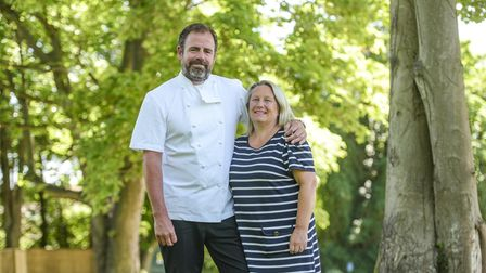 Chris and Hayley Lee , owners of The Bildeston Crown