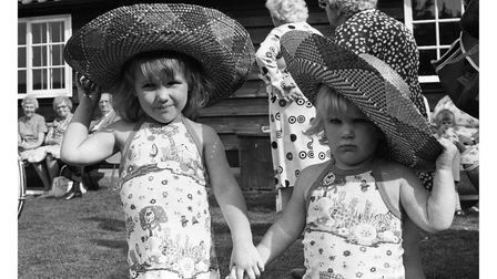 Two youngsters enjoying the sunshine in their sumbreros in Stowmarket in 1979