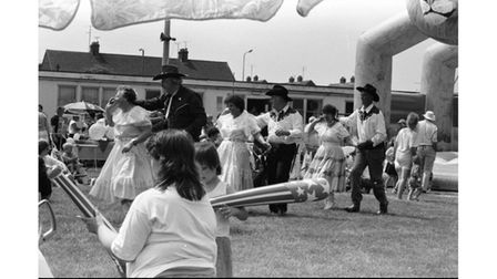 Inflatables added to the fun at the 1993 festival in Stowmarket