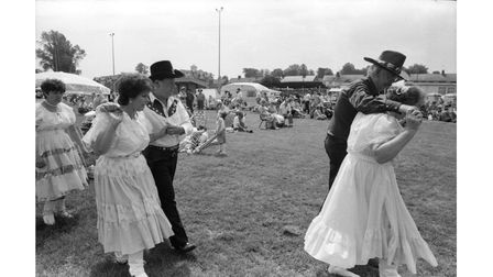 A barn dance performed at the Stowmarket festival and fun day in June 1993