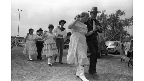 Take your partners - dancing at the fair in Stowmarket in June 1993