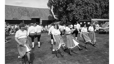 Swing your partner round and round, some summer country dancing at the museum fair in Stowmarket in 1979