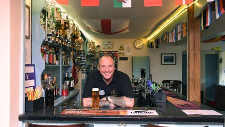 Landlord of teh Railway Tavern Paul Summers and staff have decorated the pub ready for the Euros Pi