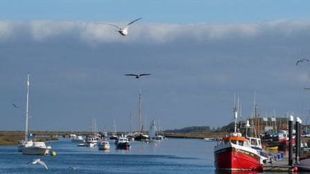 Heavy cloud clearing and revealing blue skies at Wells. Picture: Martin Sizeland