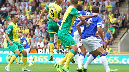 Norwich City now have Grabban, Jerome, Hooper and Van Wolfswinkel (pictured) all on Premier League w