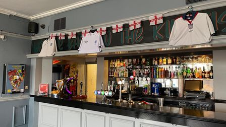 England shirts on display at the Kingfisher pub in Chantry, Ipswich