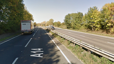 One lane of the A14 has been closed at Beyton