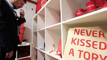 Merchandise on sale during the second day of the Labour Party conference in Brighton. Photo: Jonatha