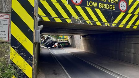 The van hit Stuntney Bridge in Ely, nicknamed Britain's Most Bashed Bridge, at around 8.40am this morning (June 11).
